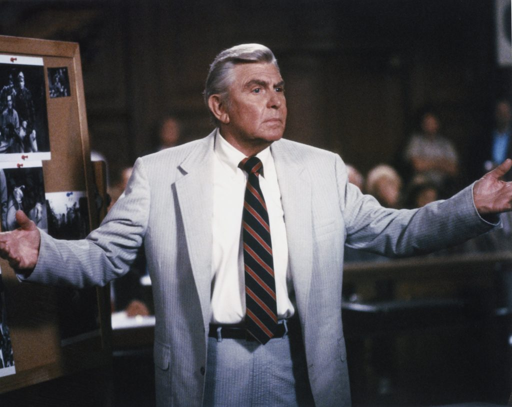 Andy Griffith addresses a courtroom in the role of Atlanta attorney Ben Matlock in a scene from 'Matlock'