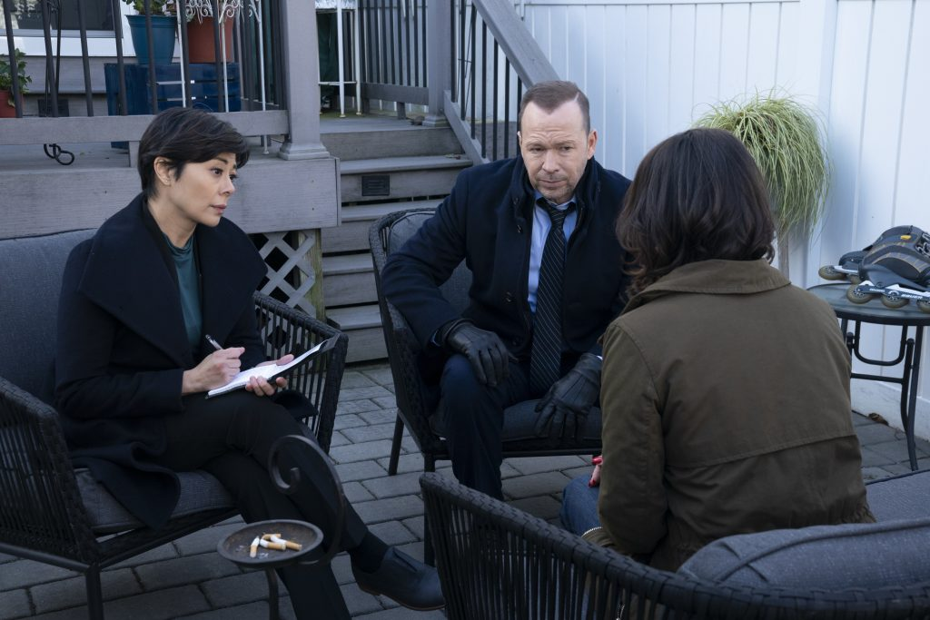 Angel Desai and Donnie Wahlberg on 'Blue Bloods' | Patrick Harbron/CBS via Getty Images