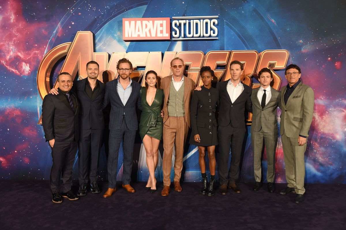 Joe Russo, Sebastian Stan, Tom Hiddleston, Elizabeth Olsen, Paul Bettany, Letitia Wright, Benedict Cumberbatch, Tom Holland, and Anthony Russo