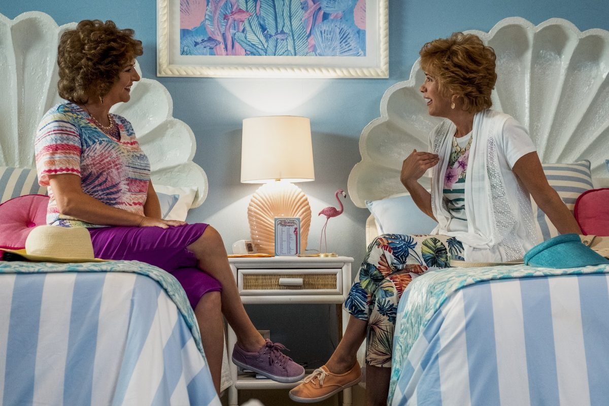 Barb and Star Annie Mumolo and Kristen Wiig in hotel room