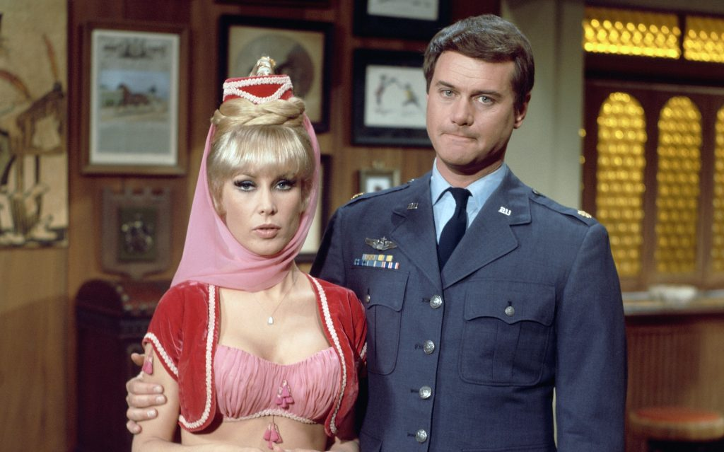 Barbara Eden and Larry Hagman on the set of 'I Dream of Jeannie'