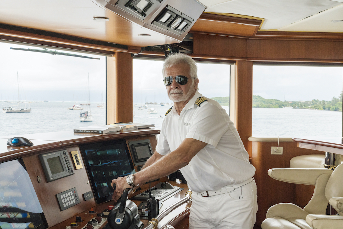 Captain Lee Rosbach at the helm on 'Below Deck.'