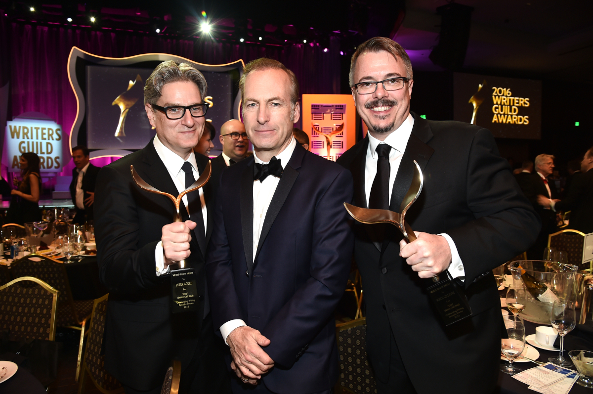 Actor/writer Bob Odenkirk (C) poses with writers Peter Gould (L) and Vince Gilligan (R), the winners of the Episodic Drama award for 'Better Call Saul,' during the 2016 Writers Guild Awards at the Hyatt Regency Century Plaza on February 13, 2016 in Los Angeles, California