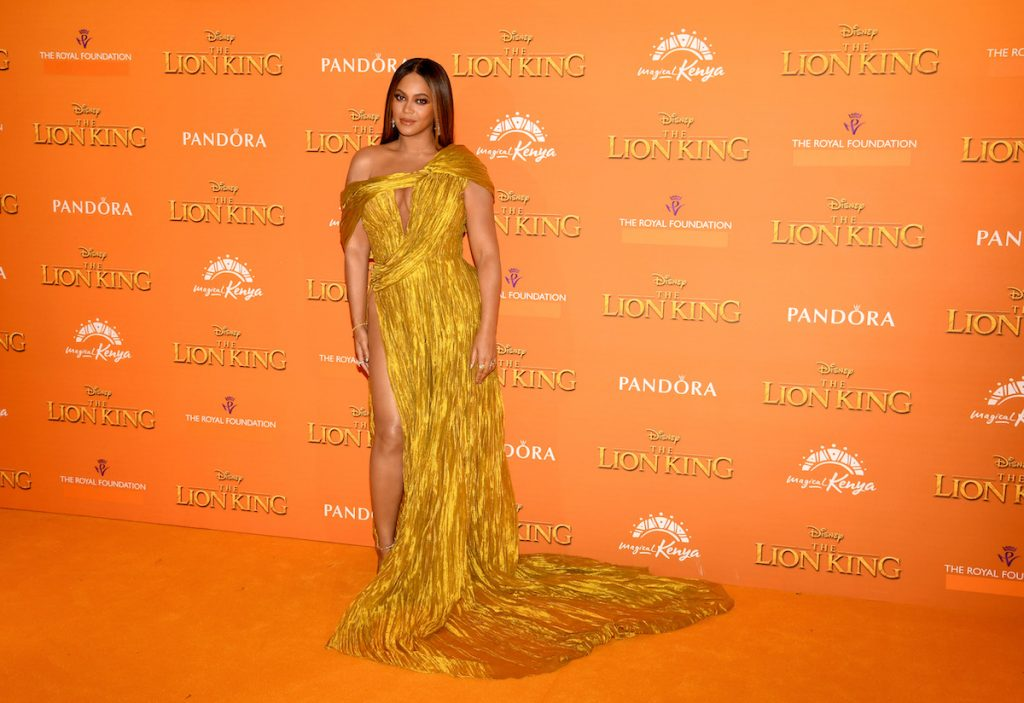 """Beyonce Knowles-Carter attends the European Premiere of Disney's """"The Lion King"""" at Odeon Luxe Leicester Square"""