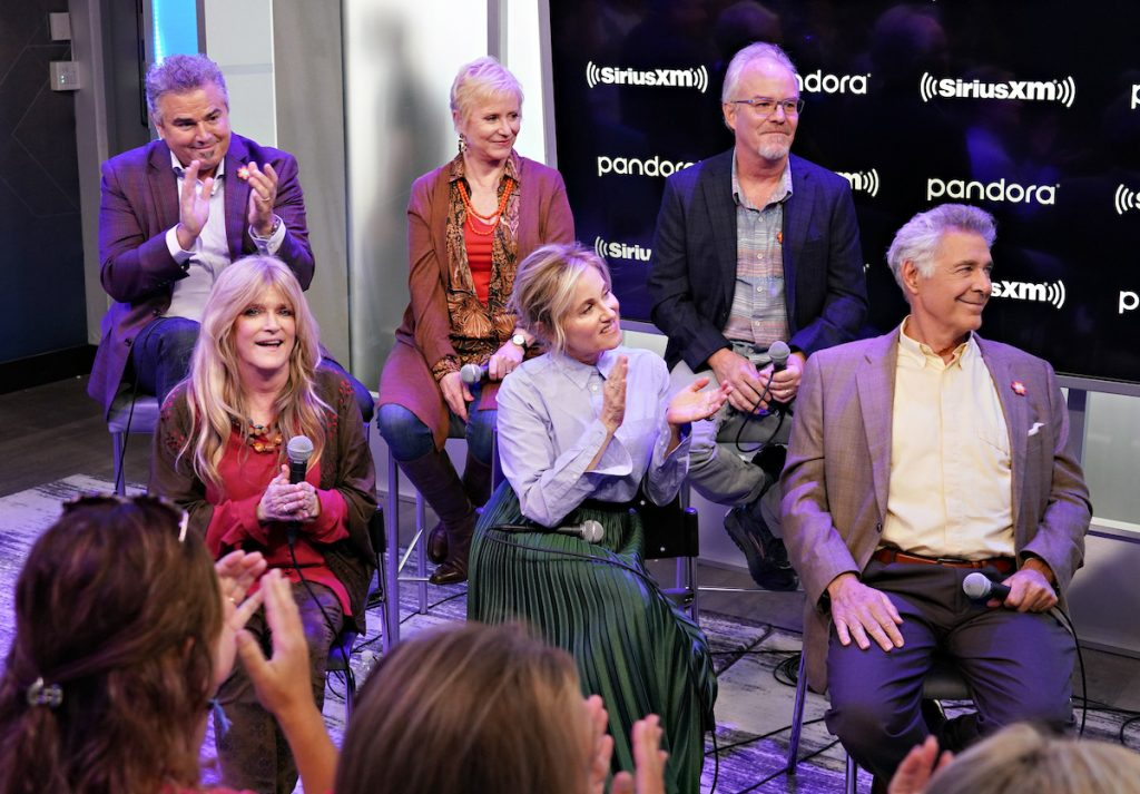 Clockwise from top left: Christopher Knight, Eve Plumb, Mike Lookinland, Barry Williams, Maureen McCormack, and Susan Olsen take part in Andy Cohen's Deep and Shallow interview special with the cast of 'The Brady Bunch' on SiriusXM's Radio Andy channel at the SiriusXM Studios on September 9, 2019, in New York City.