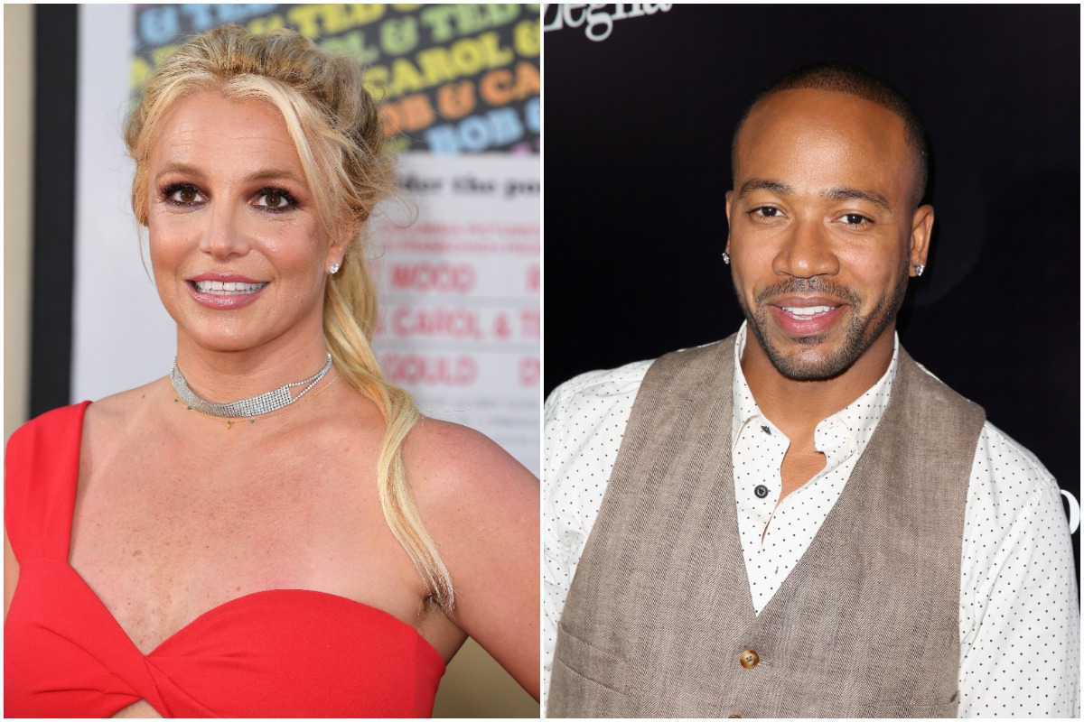 Britney Spears smiling and posing in a red dress/Columbus Short smiling in a tan vest and white shirt.