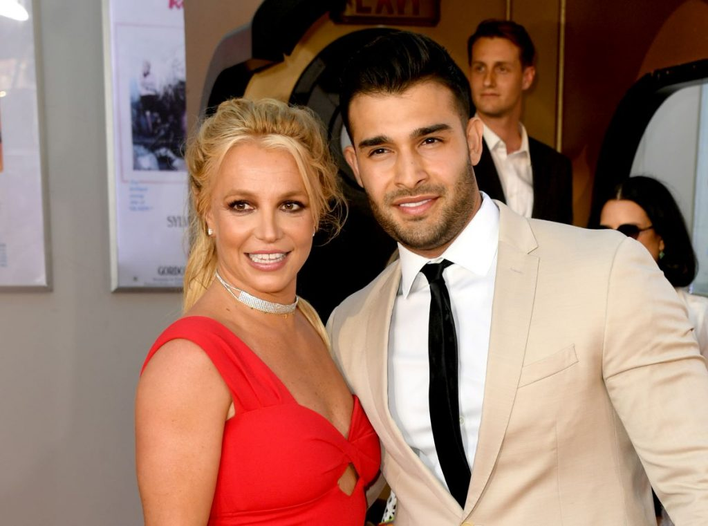 """Britney Spears and Sam Asghari on the red carpet for Sony Pictures' """"One Upon A Time...In Hollywood"""""""