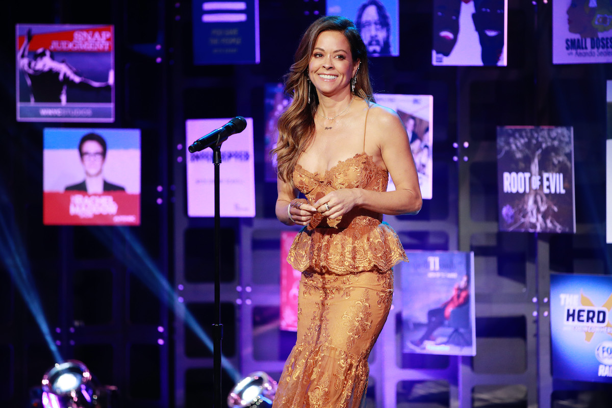 Brooke Burke speaks onstage at the 2020 iHeartRadio Podcast Awards