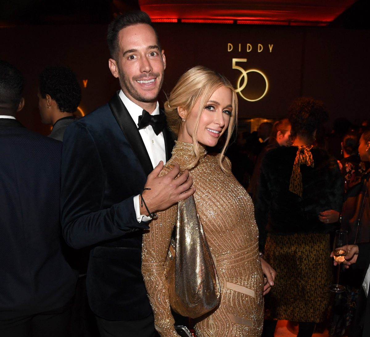 Carter Reum and Paris Hilton attending Sean Combs' 50th Birthday Bash in 2019