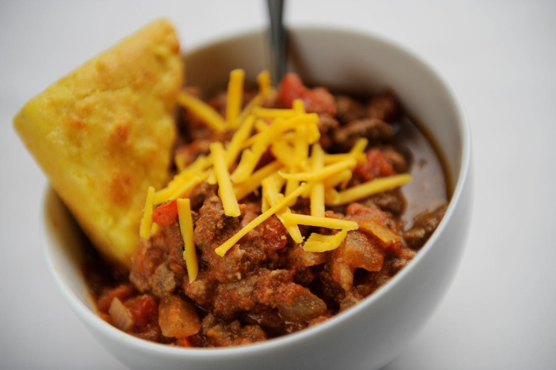 Chili and Cornbread for Super Bowl party spread