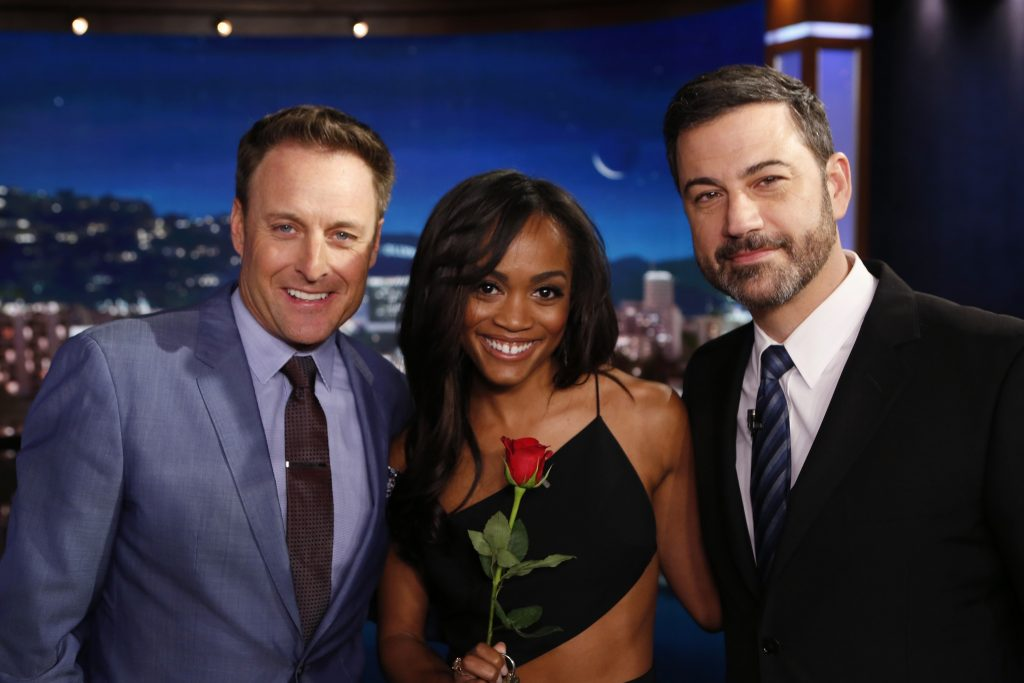 The Bachelor host Chris Harrison with Bachelorette Rachel Lindsay and Jimmy Kimmel