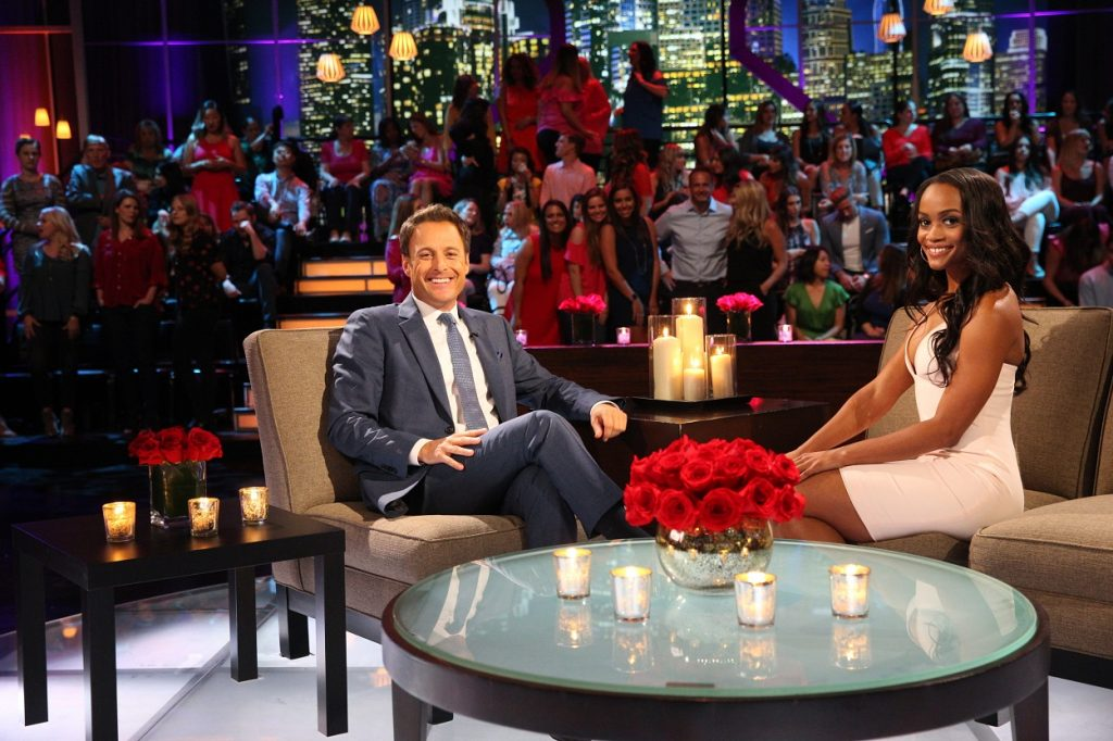 The Bachelor host Chris Harrison and Rachel Lindsay interview