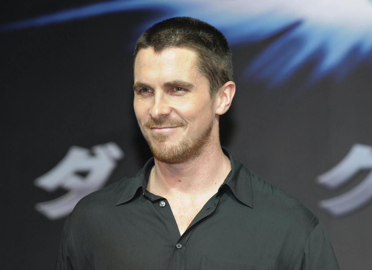 Christian Bale at a press conference for 'The Dark Knight'