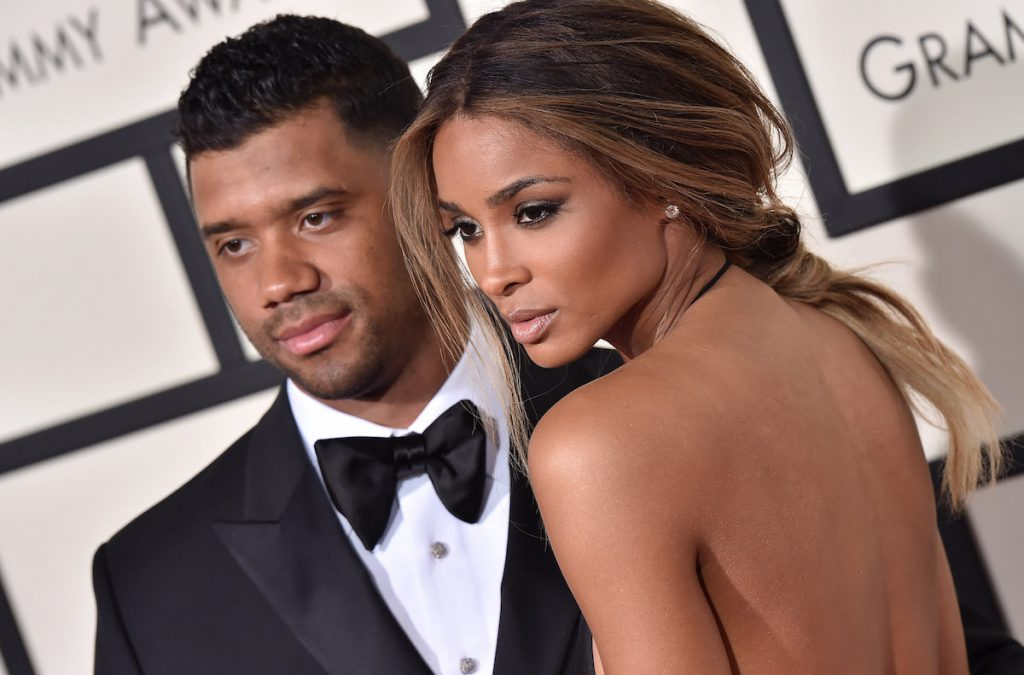 NFL player Russell Wilson and singer Ciara arrive at The 58th GRAMMY Awards at Staples Center on February 15, 2016 in Los Angeles, California.