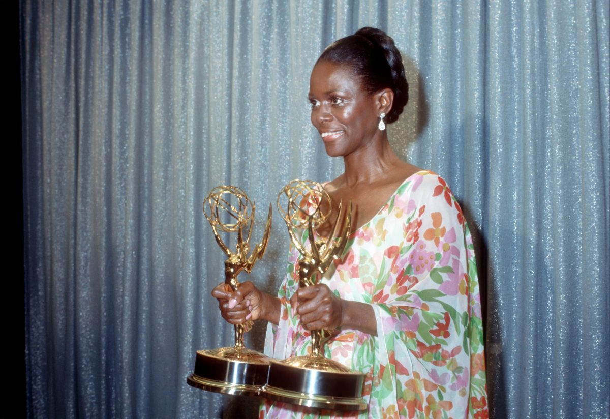 """LOS ANGELES - MAY 28: Actress Cicely Tyson holds the two Emmy Awards that she won for her performance in """"The Autobiography Of Miss Jane Pittman"""" on May 28, 1974 in Los Angeles, California."""