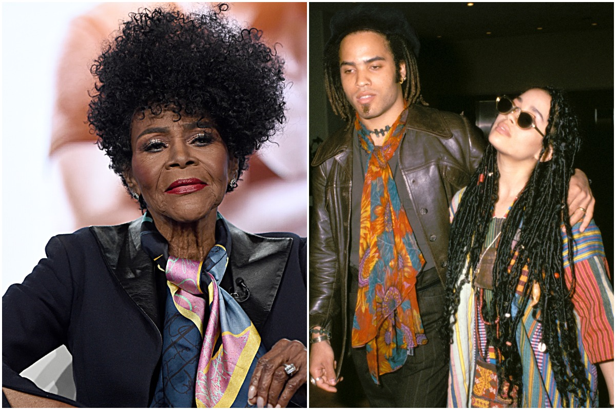 Cicely Tyson sitting down at an event/Lenny Kravitz and Lisa Bonet walking outside.