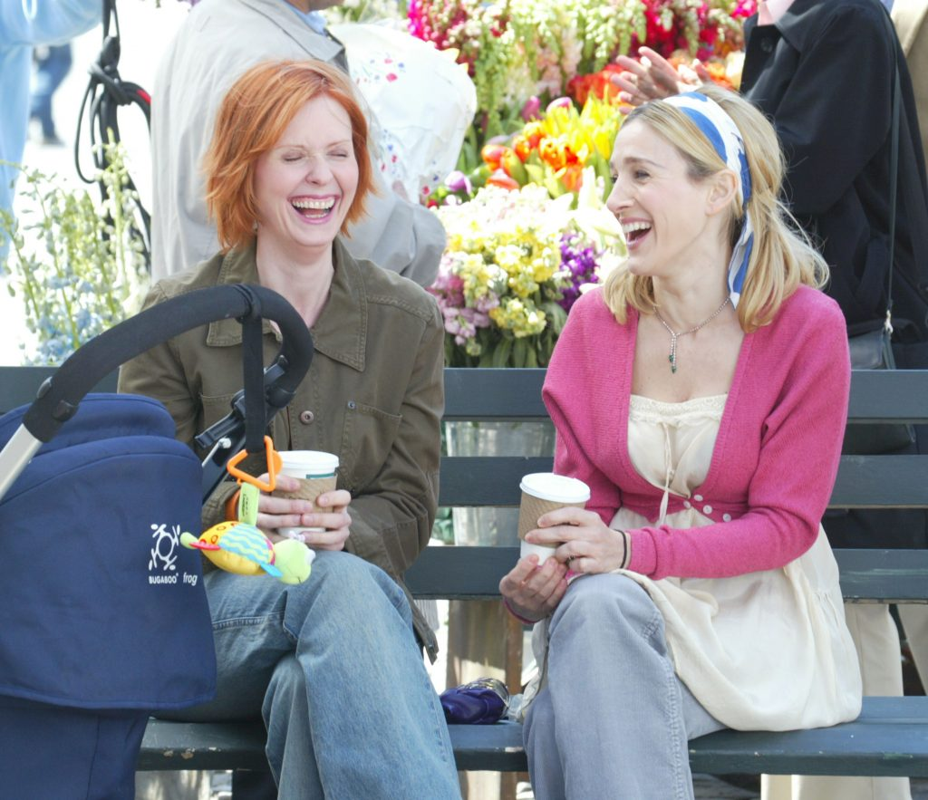 Cynthia Nixon and Sarah Jessica Parker film a scene for 'Sex and the City' in Manhattan