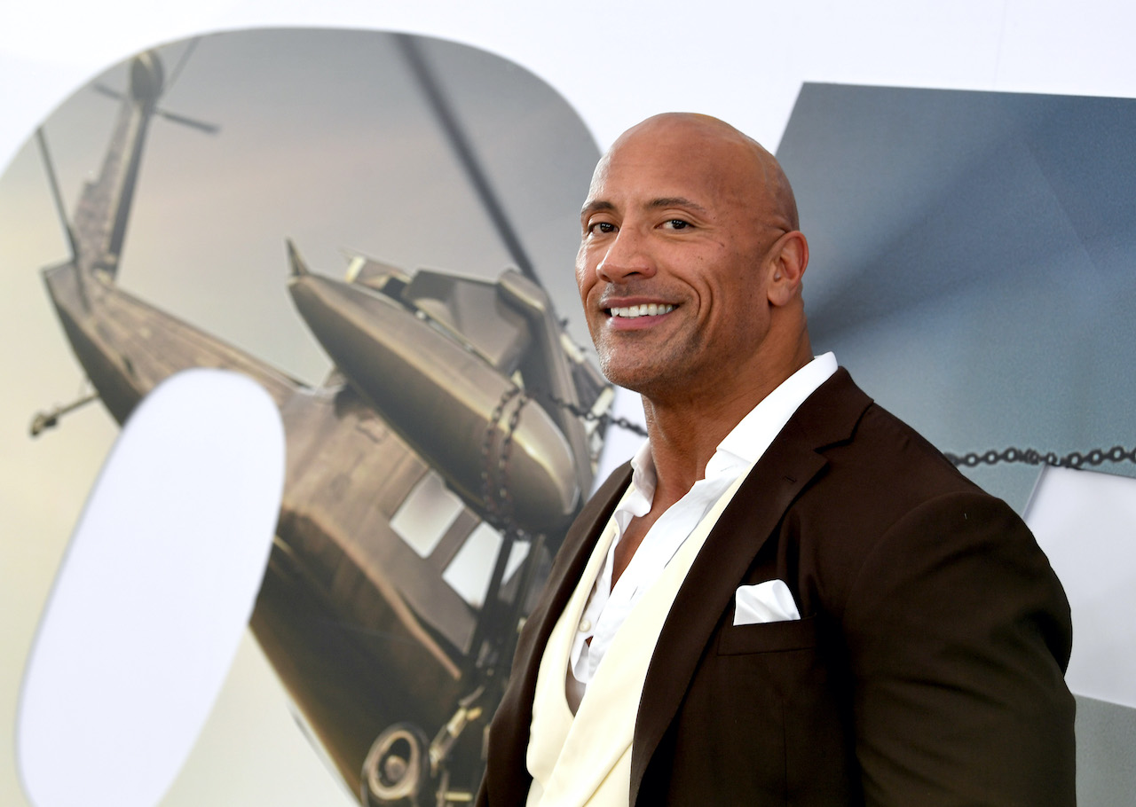 """Dwayne Johnson arrives at the premiere of Universal Pictures' """"Fast & Furious Presents: Hobbs & Shaw"""""""