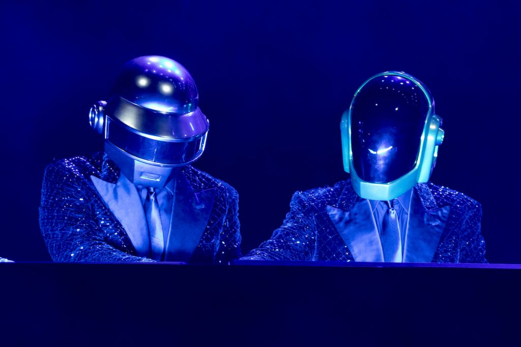 French musical group Daft Punk during the concert for the 20 years of Lo Zoo di 105 at the Hippodrome, Milan, Italy