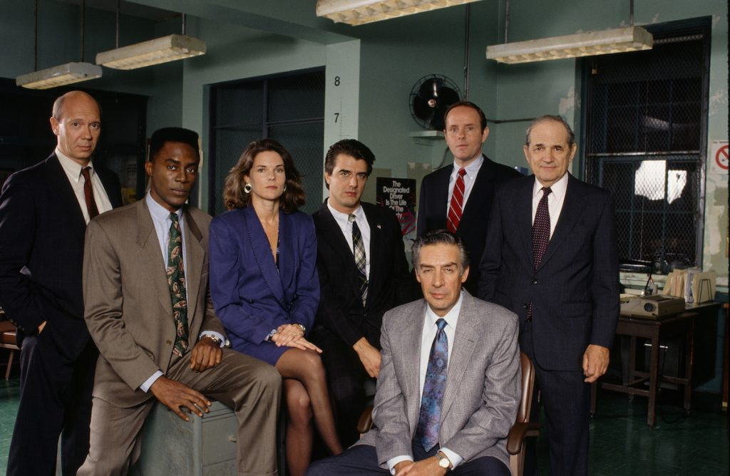 Dann Florek, Richard Brooks, Carolyn McCormick, Chris Noth, Jerry Orbach, Michael Moriarty, Steven Hill from season 3 of 'Law & Order'
