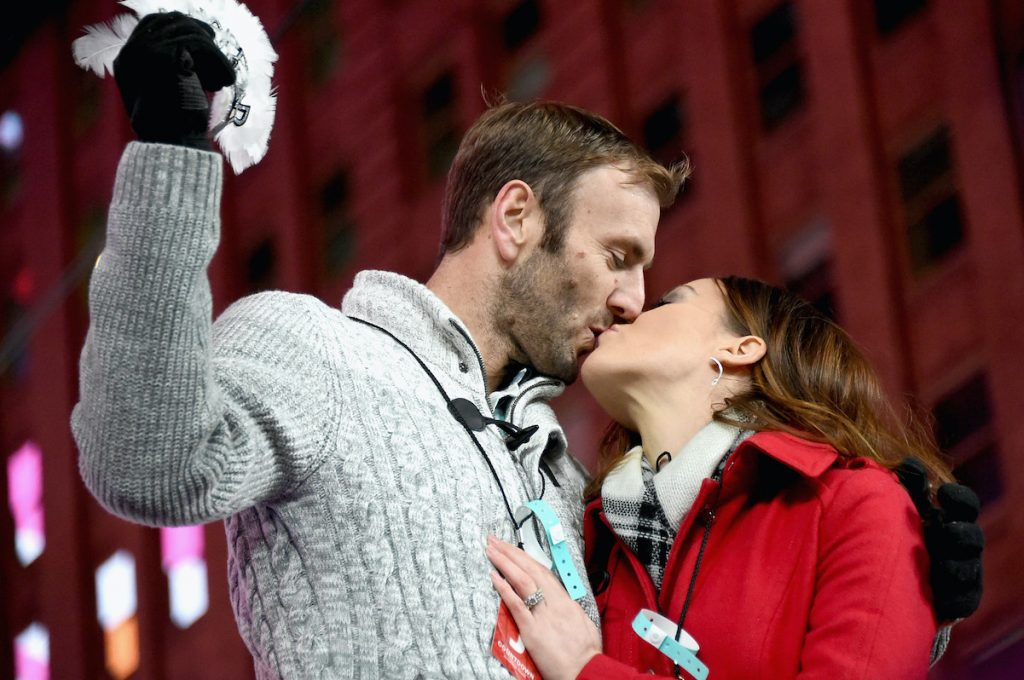 "Doug Hehner and Jamie Otis attend The FYI Network presents, ""Kiss Bang Love"" during New Years Eve in Times Square in 2016"