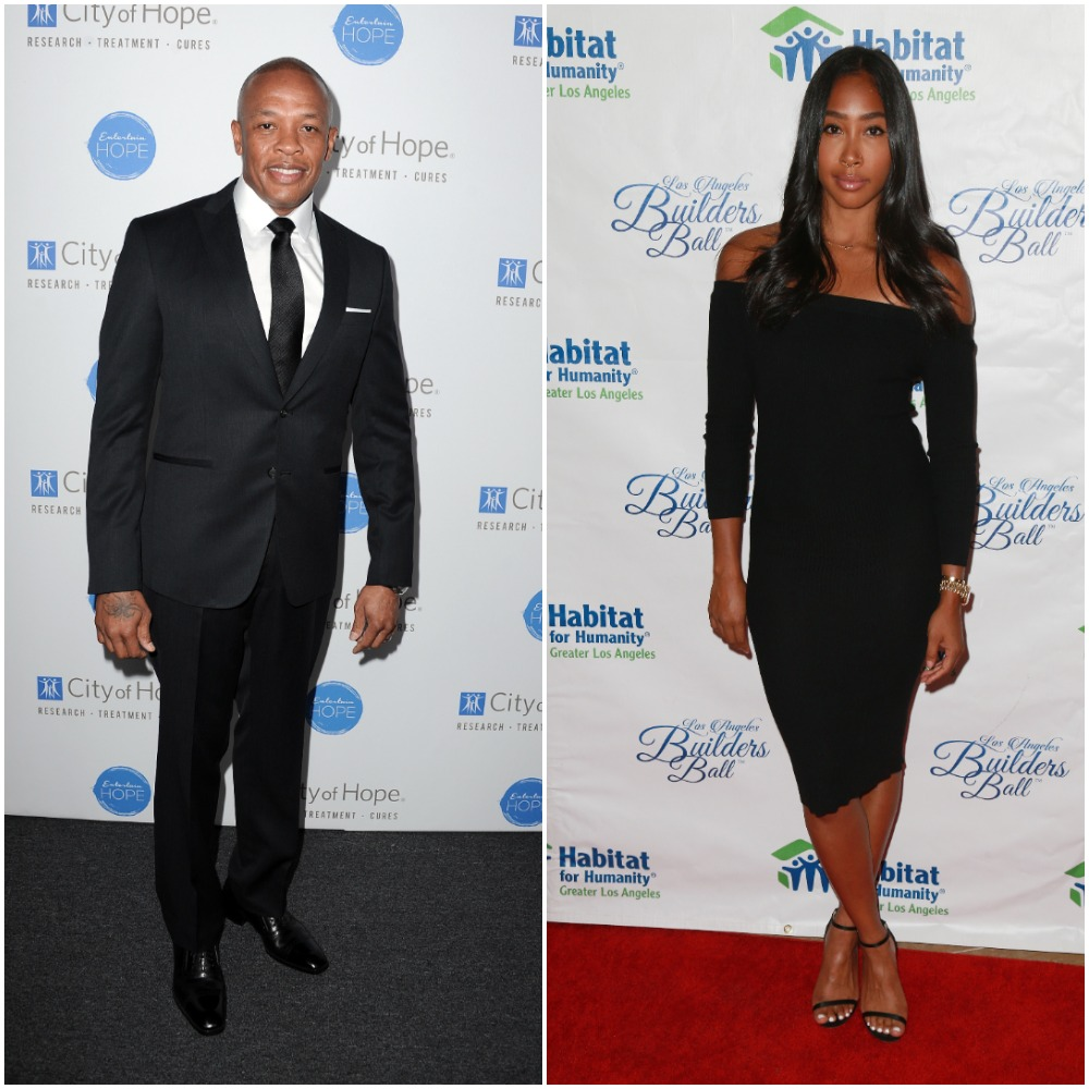 Dr. Dre attends the City of Hope Spirit of Life Gala in 2014; Apryl Jones attends the 2017 Los Angeles Builders Ball