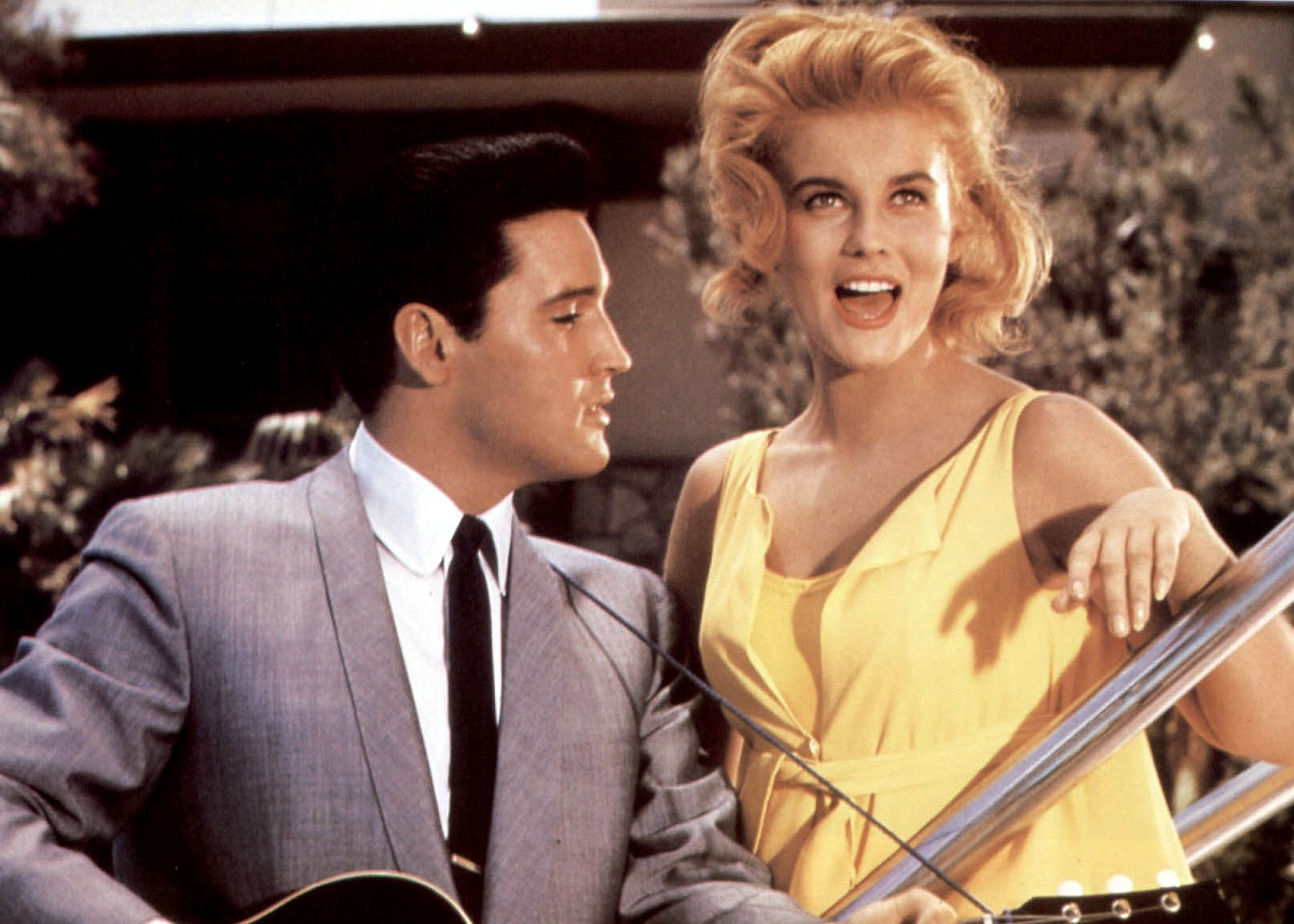 Elvis Presley and Ann-Margret singing together in a color still from the movie 'Viva Las Vegas' in 1964