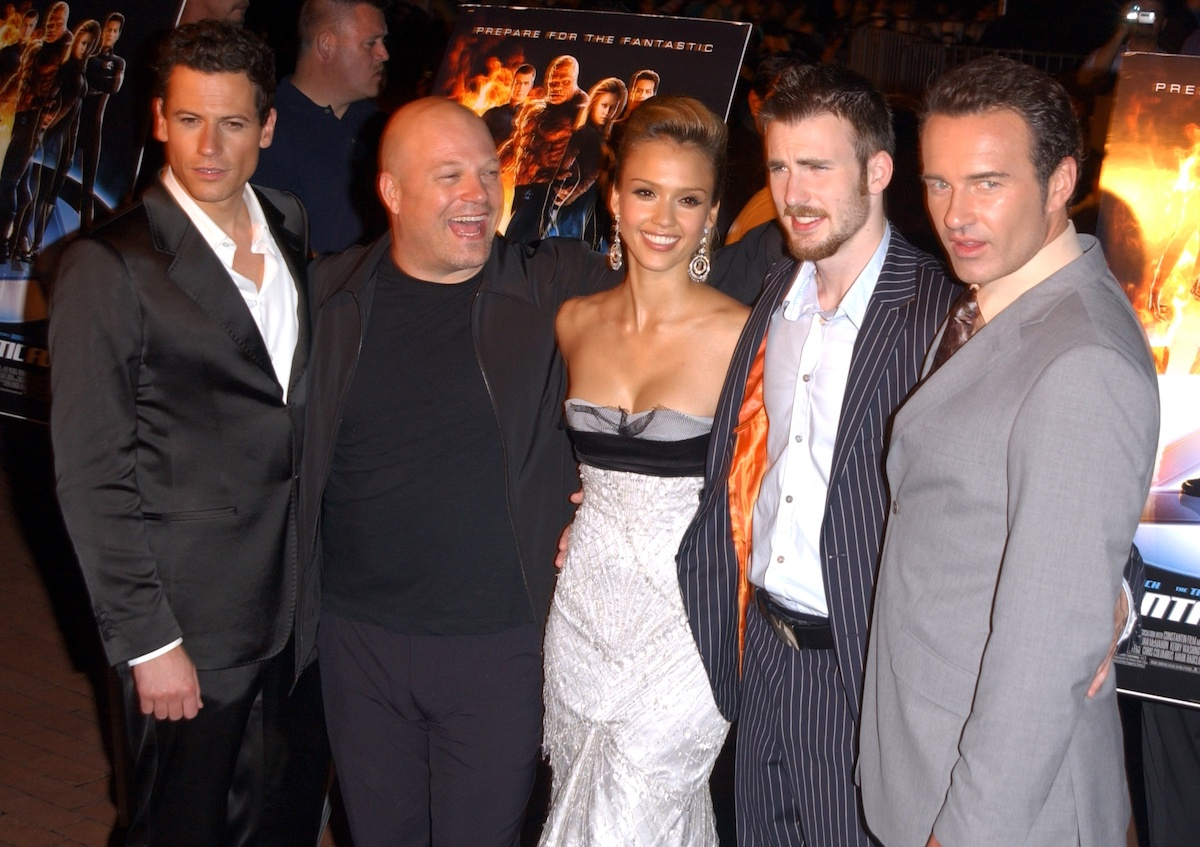 Ioan Gruffudd, Michael Chiklis, Jessica Alba, Chris Evans, and Julian McMahon at the premiere for 2005 Marvel movie 'Fantastic Four'