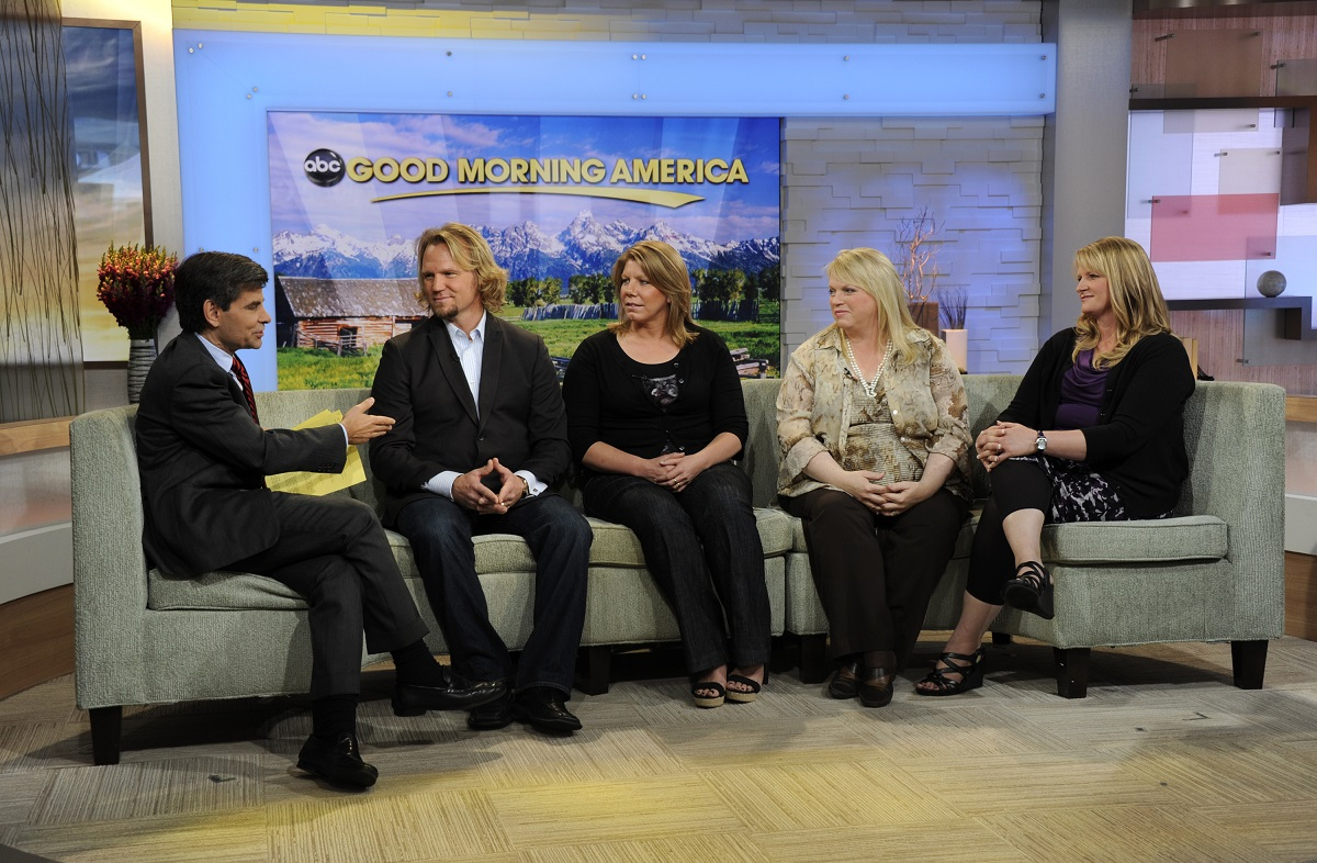George Stephanopoulos with Kody Brown, Meri Brown, Janelle Brown, and Christine Brown of TLC's 'Sister Wives' on 'Good Morning America' in 2011
