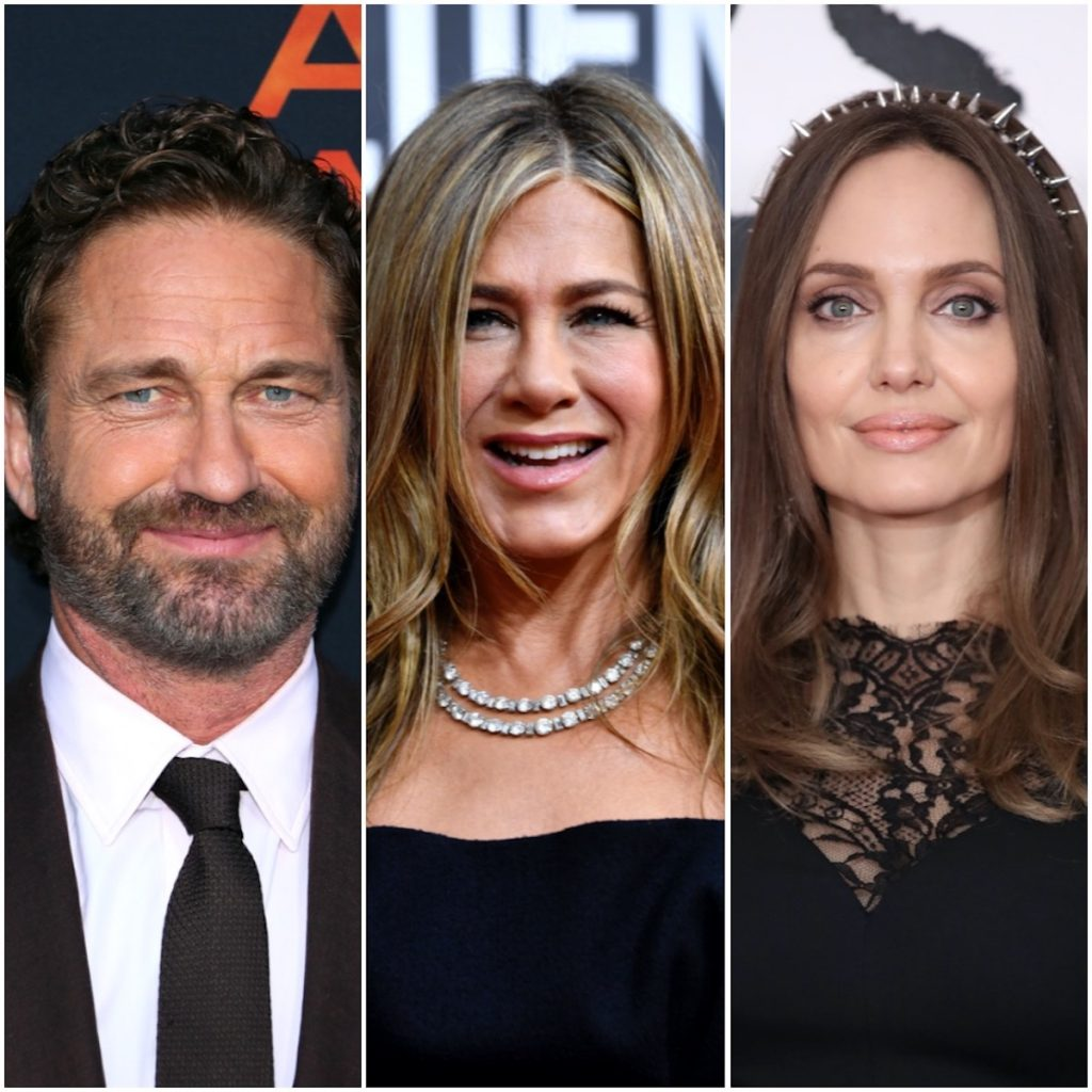 Gerard Butler, Jennifer Aniston, and Angelina Jolie in a photo collage