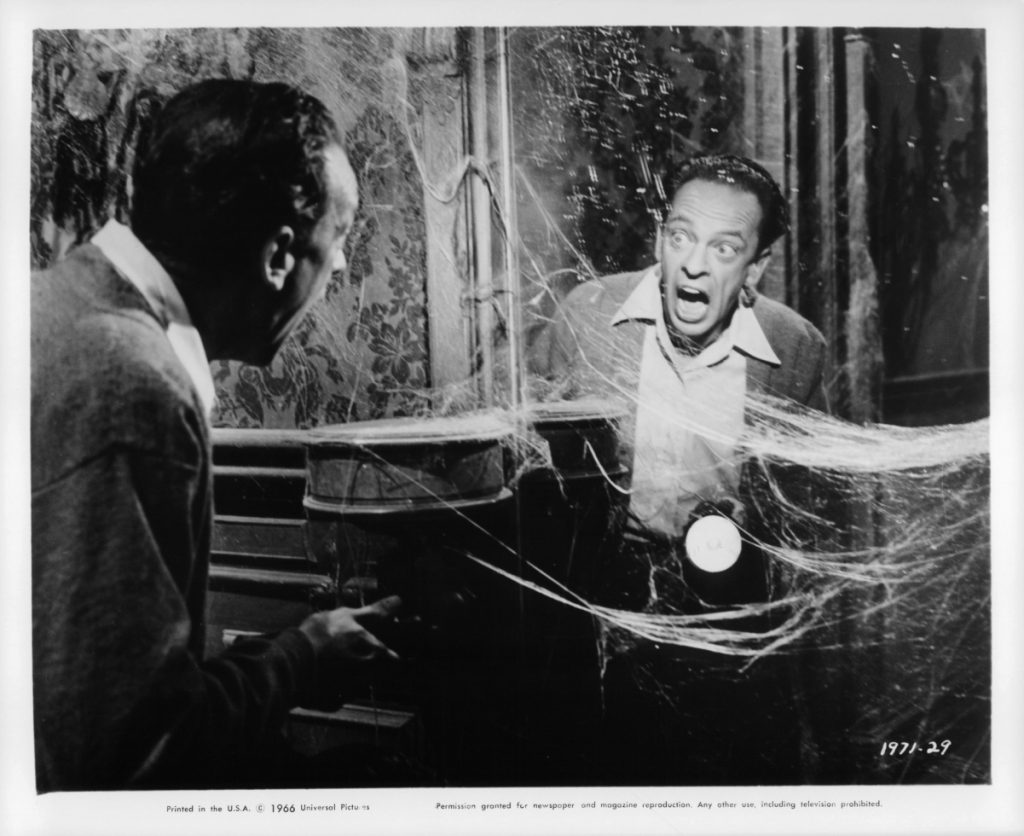 Don Knotts screams at his own reflection in a scene from the film 'The Ghost And Mr. Chicken', 1966