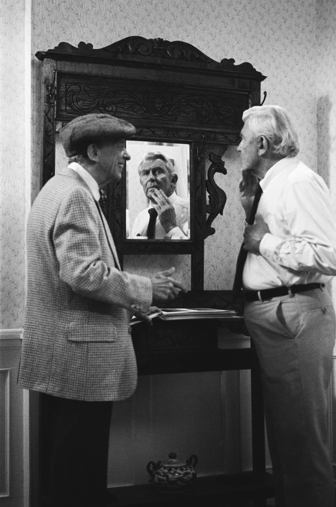 Don Knotts as Les Calhoun and Andy Griffith as Ben Matlock on the legal drama 'Matlock,'