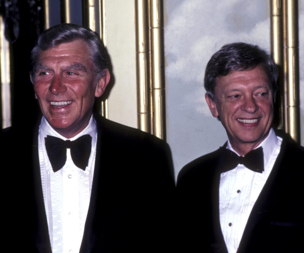 'The Andy Griffith Show' stars Andy Griffith and Don Knotts attend an event in tuxedos in 1978