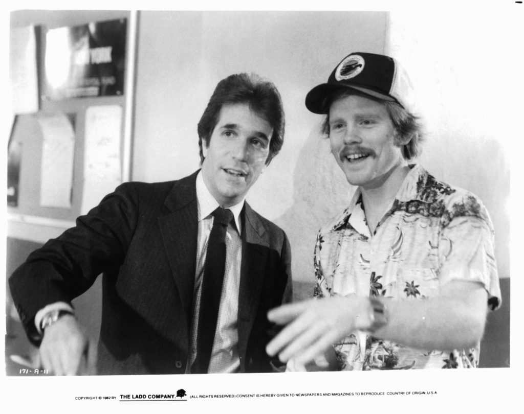 Henry Winkler as Chuck Lumley with director Ron Howard on the set of 'Night Shift', 1982