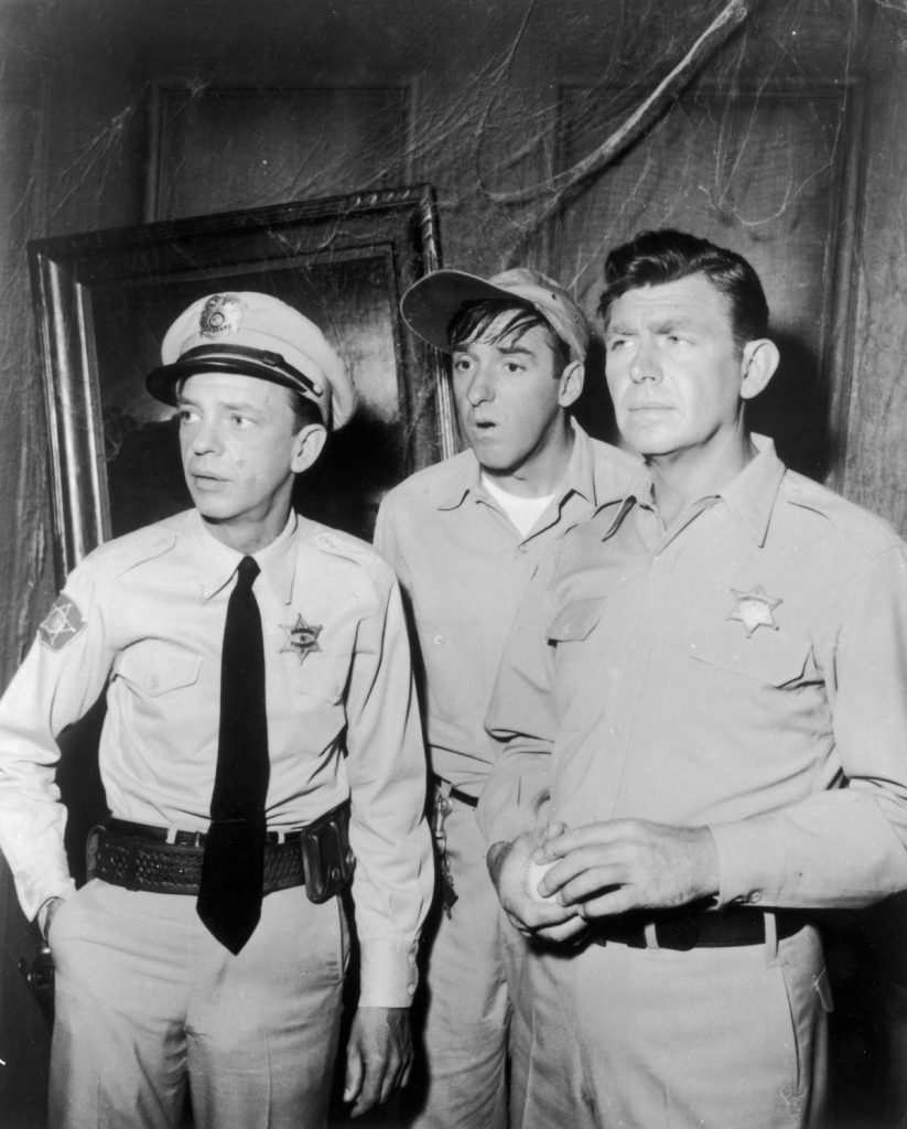 Don Knotts as Barney Fife, Jim Nabors as Gomer Pyle, and Andy Griffith as Andy Taylor in a scene from 'The Andy Griffith Show'