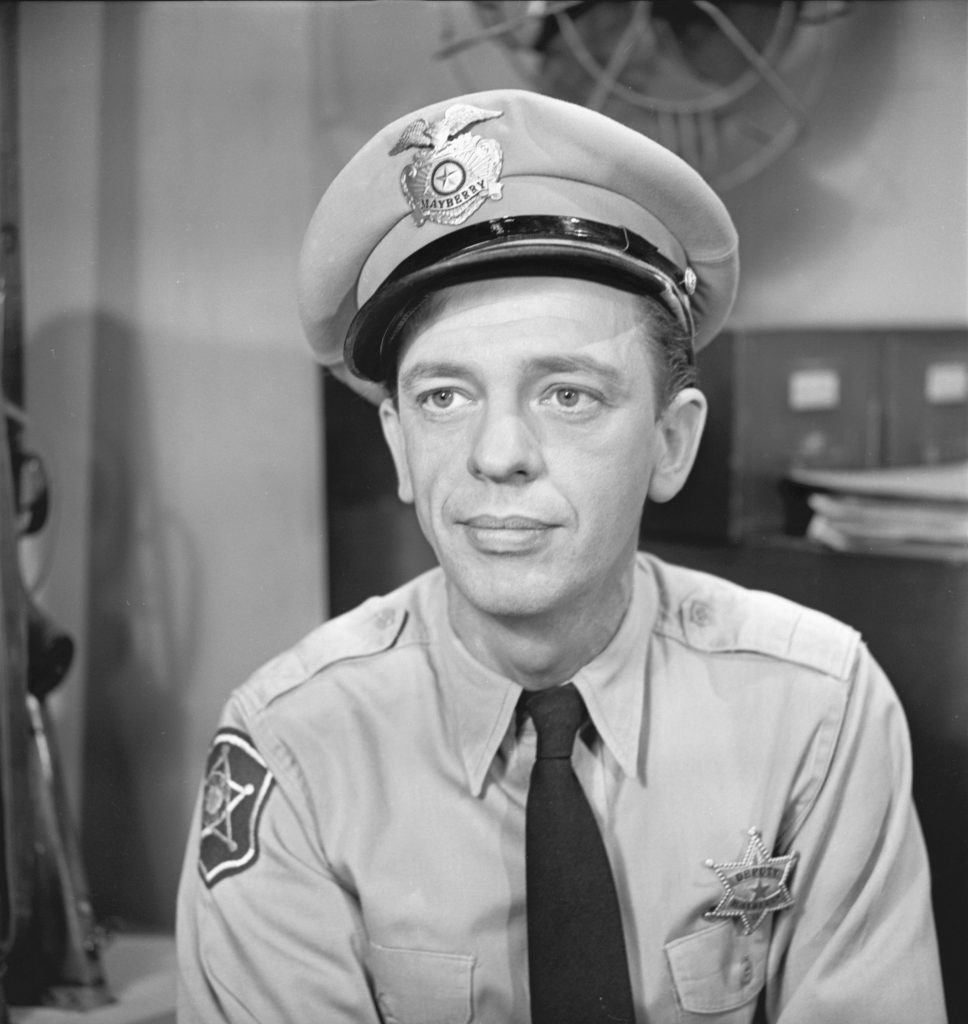 Don Knotts in uniform as 'The Andy Griffith Show's Deputy Barney Fife, 1960