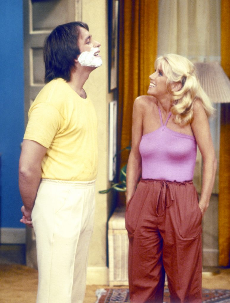 John Ritter and Suzanne Somers in a scene from 'Three's Company', 1978