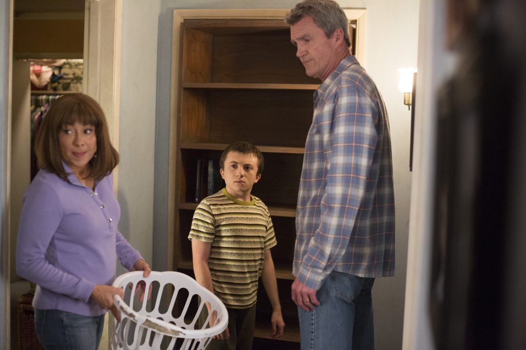 (L to R): Patricia Heaton as Frankie Heck, Atticus Shaffer as Brick Heck, and Neil Flynn as Mike Heck on ABC's 'The Middle'