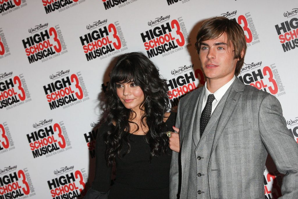 """Vanessa Hudgens and Zac Efron at the premiere of """"High School Musical 3"""" at the Cinemark Polanco on October 30, 2008 in Mexico City"""