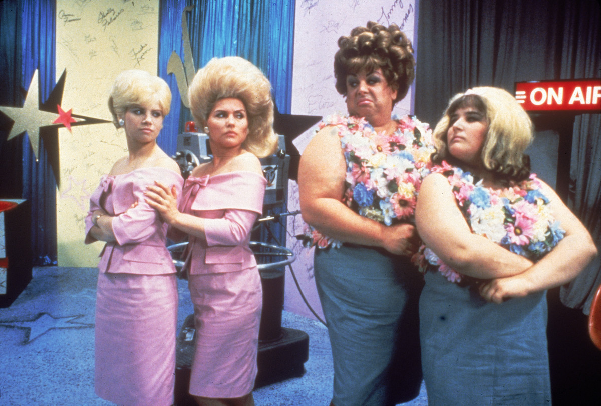 Colleen Fitzpatrick, Debbie Harry, Divine (1945 - 1988), and Ricki Lake in a scene from 'Hairspray'