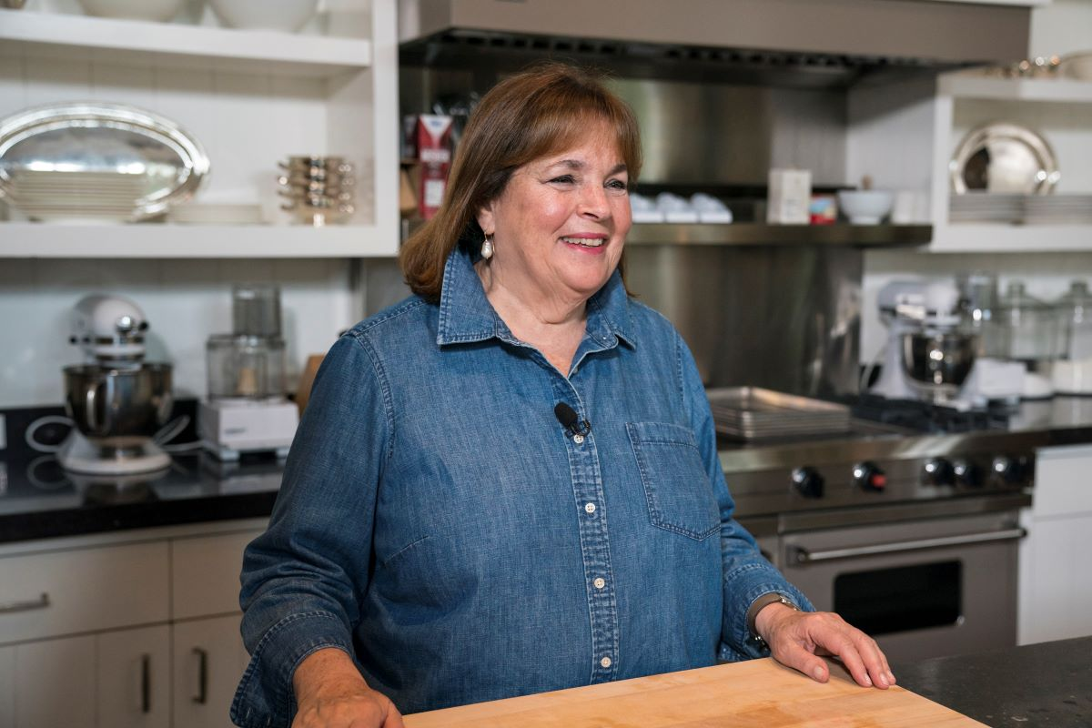"Ina Garten stands in the kitchen of her ""barn"" in 2018"