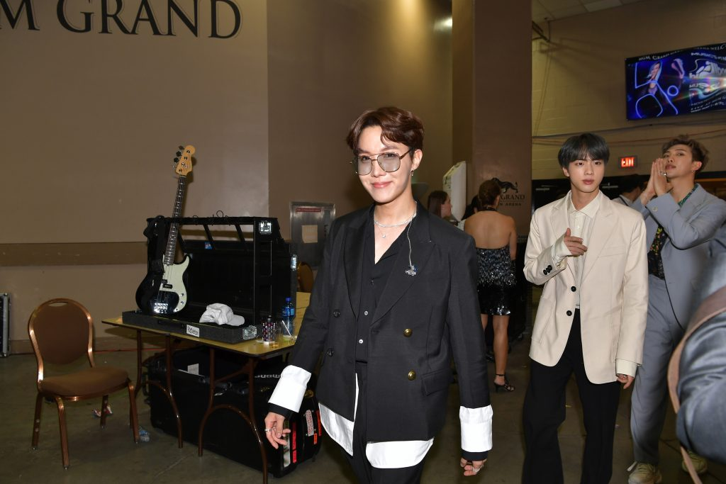 BTS are seen backstage during the 2019 Billboard Music Awards