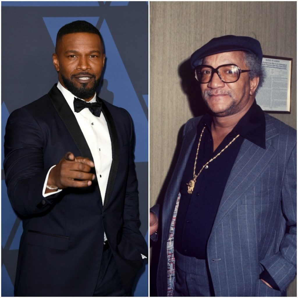 Jamie Foxx attends the Academy Of Motion Picture Arts And Sciences' 11th Annual Governors Awards and Redd Foxx wearing a blue pinstriped suit; circa 1970;