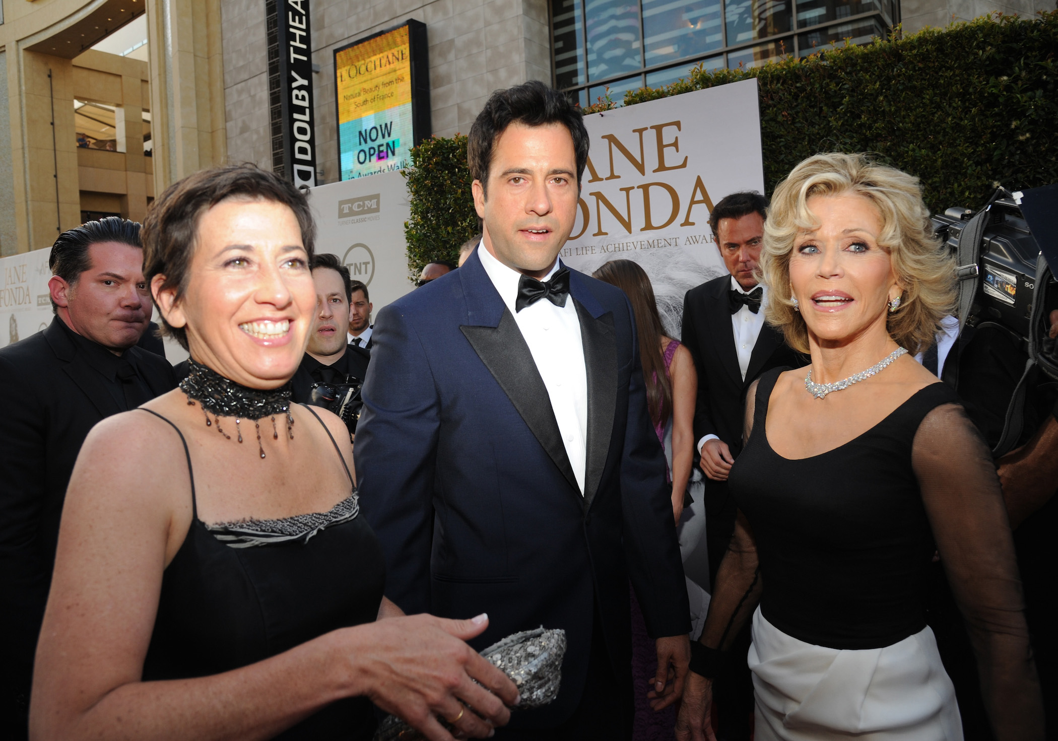 Jane Fonda at the Dolby Theatre with Vanessa Vadim and Troy Garity