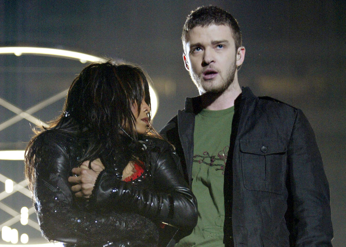 Janet Jackson and surprise guest Justin Timberlake perform during the halftime show at Super Bowl XXXVIII between the New England Patriots and the Carolina Panthers at Reliant Stadium on February 1, 2004 in Houston, Texas