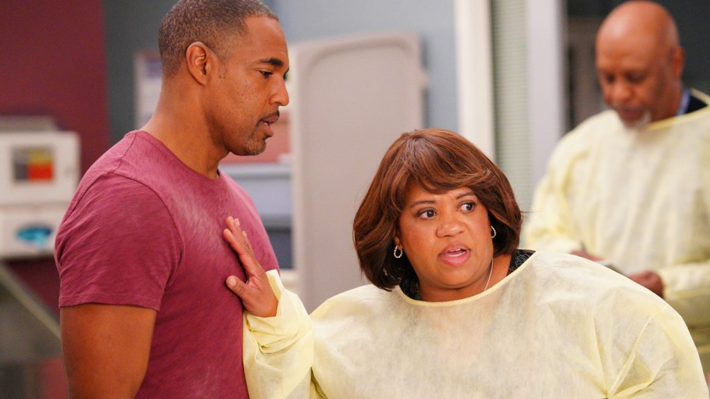 Jason George as Ben Warren and Chandra Wilson as Miranda Bailey on the 'Grey's Anatomy' Season 16 and 'Station 19' Season 3 crossover in 2019.