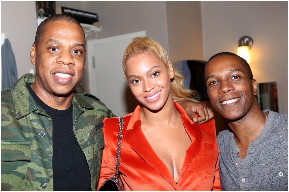 Jay-Z, Beyonce, and Leslie Odom Jr backstage at 'Hamilton' on Broadway.