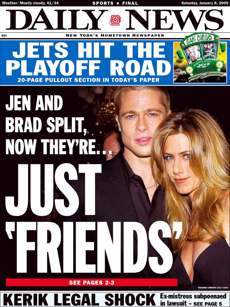 Brad Pitt and Jennifer aniston on the front page of a 2005 edition of 'The Daily News'