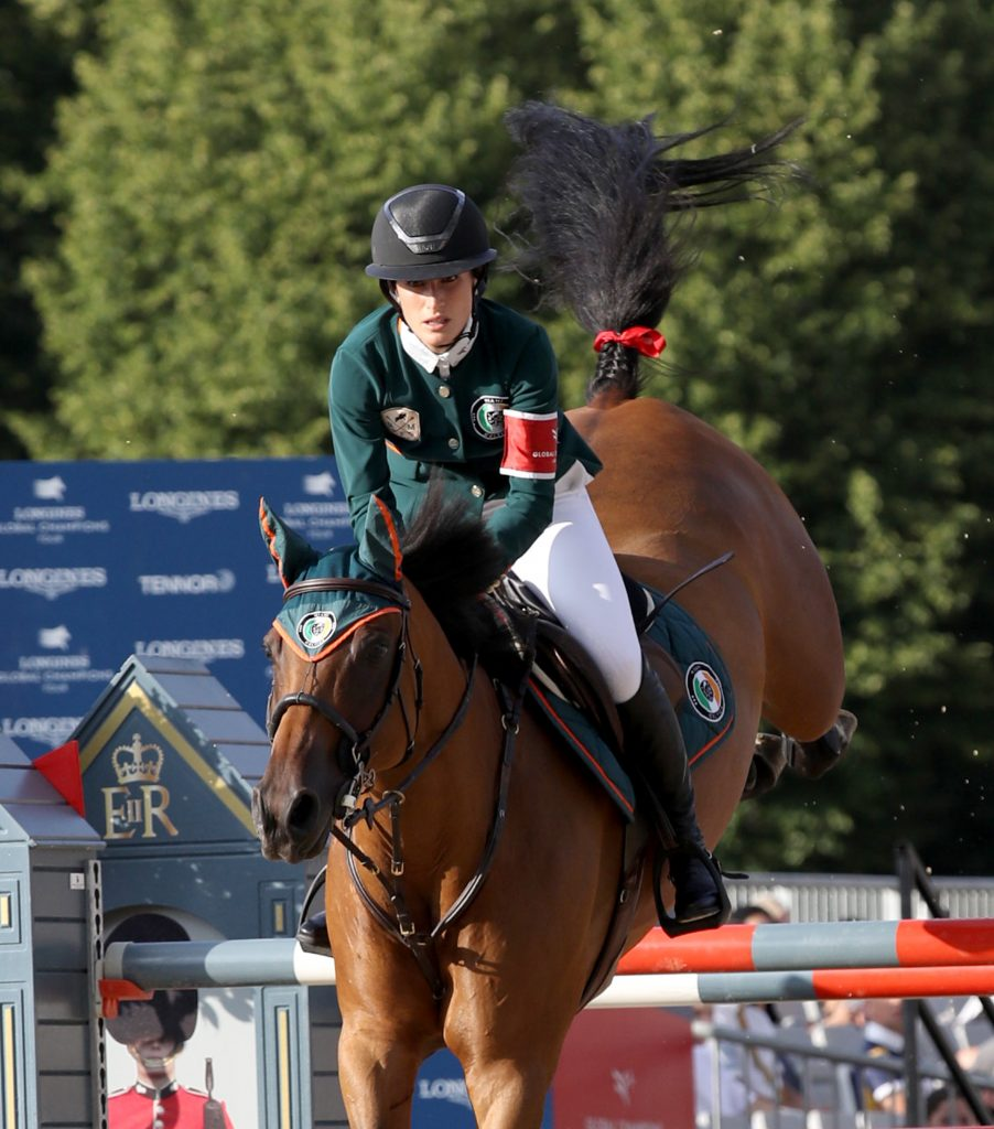 Jessica Springsteen on her horse during competition in London