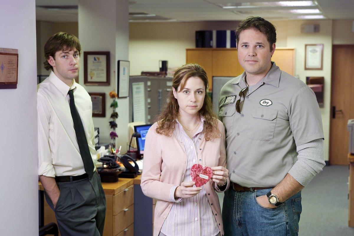 John Krasinski as Jim Halpert, Jenna Fischer as Pam Beesly, and David Denman as Roy Anderson on 'The Office'